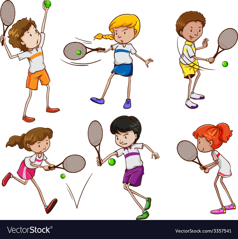 Kids playing tennis vector | Price: 3 Credit (USD $3)