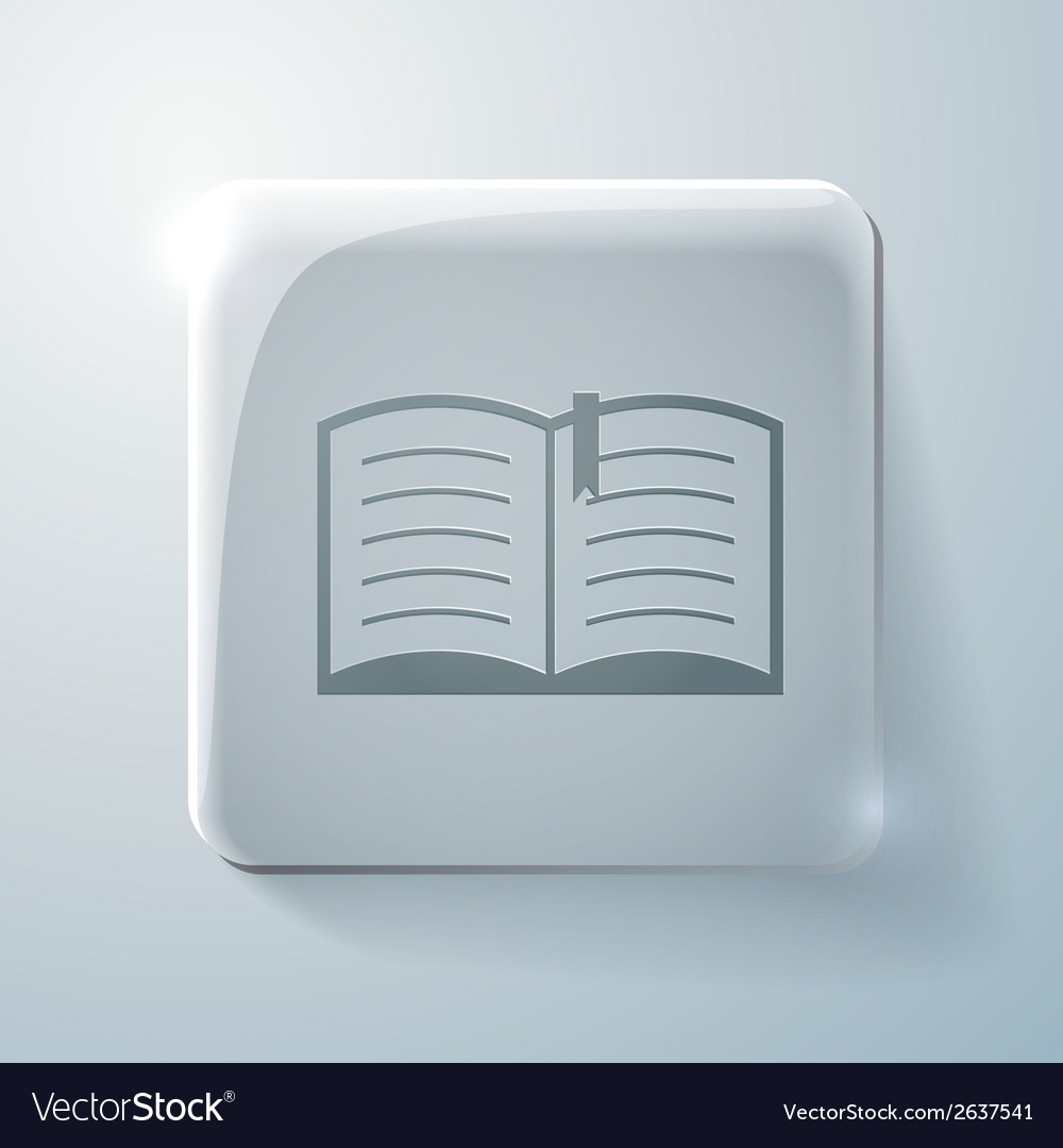 Open book glass square icon with highlights vector | Price: 1 Credit (USD $1)