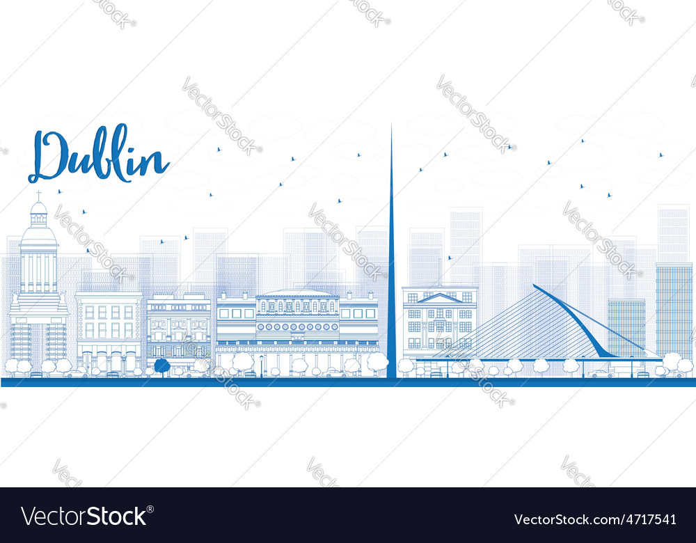 Outline dublin skyline with blue buildings vector | Price: 1 Credit (USD $1)