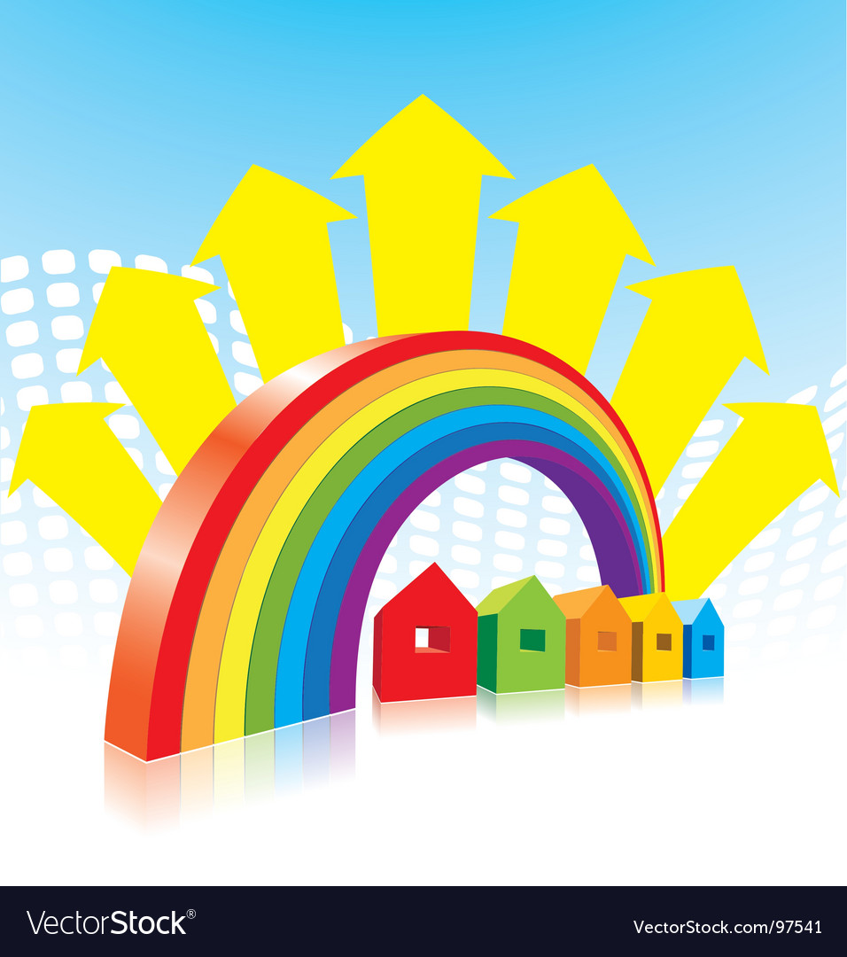 Rainbow and houses vector | Price: 1 Credit (USD $1)
