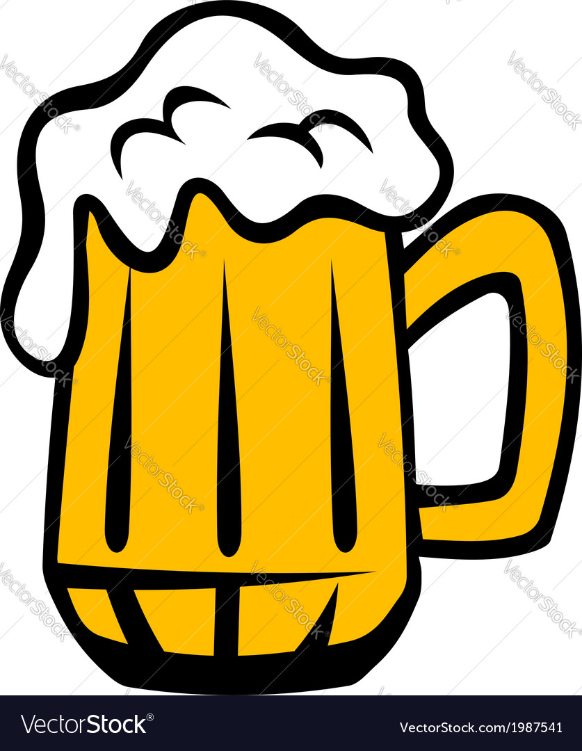 Tankard of golden lager with a frothy head vector | Price: 1 Credit (USD $1)