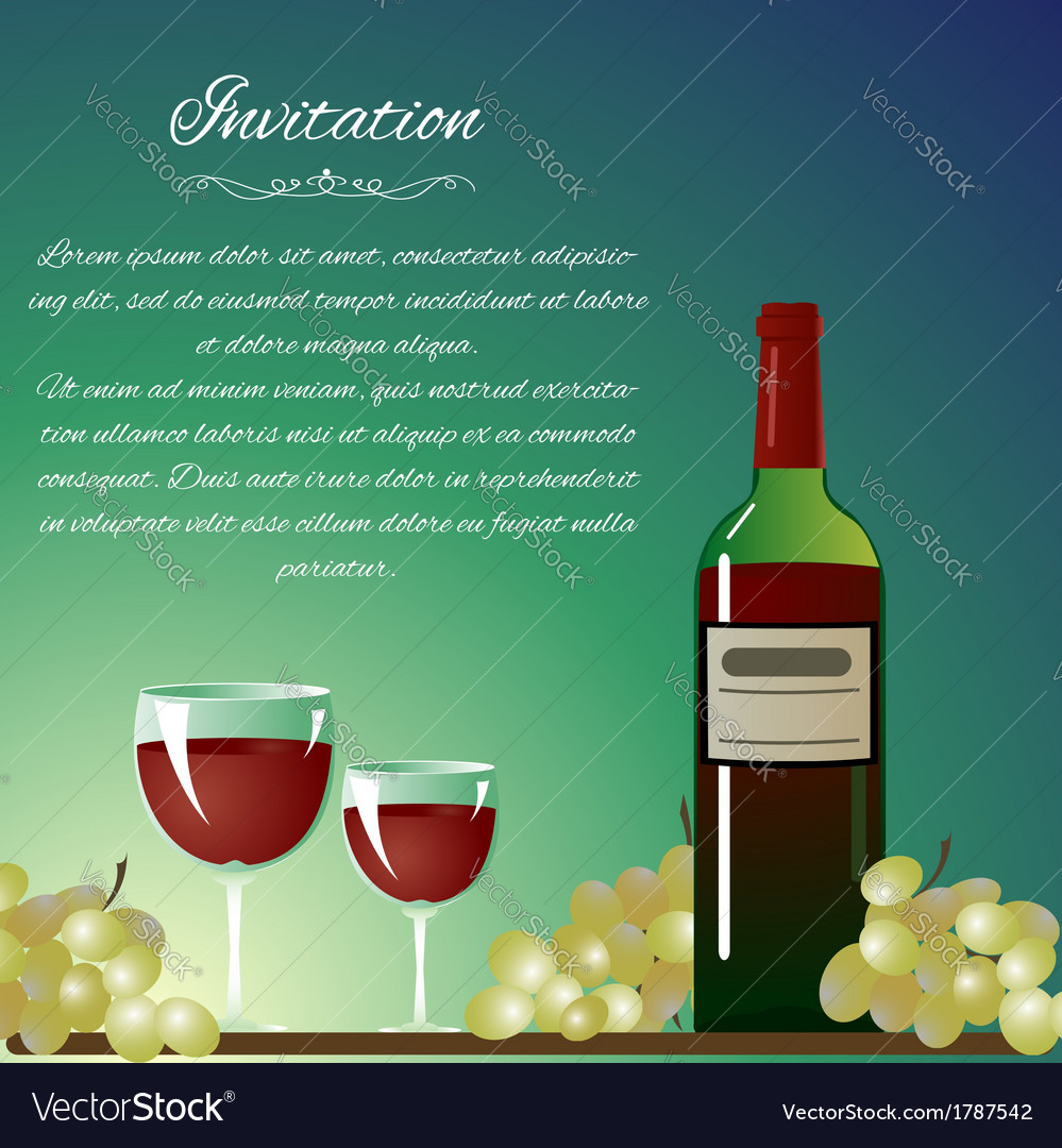 Background with bottle of wine and grapes for invi vector | Price: 1 Credit (USD $1)