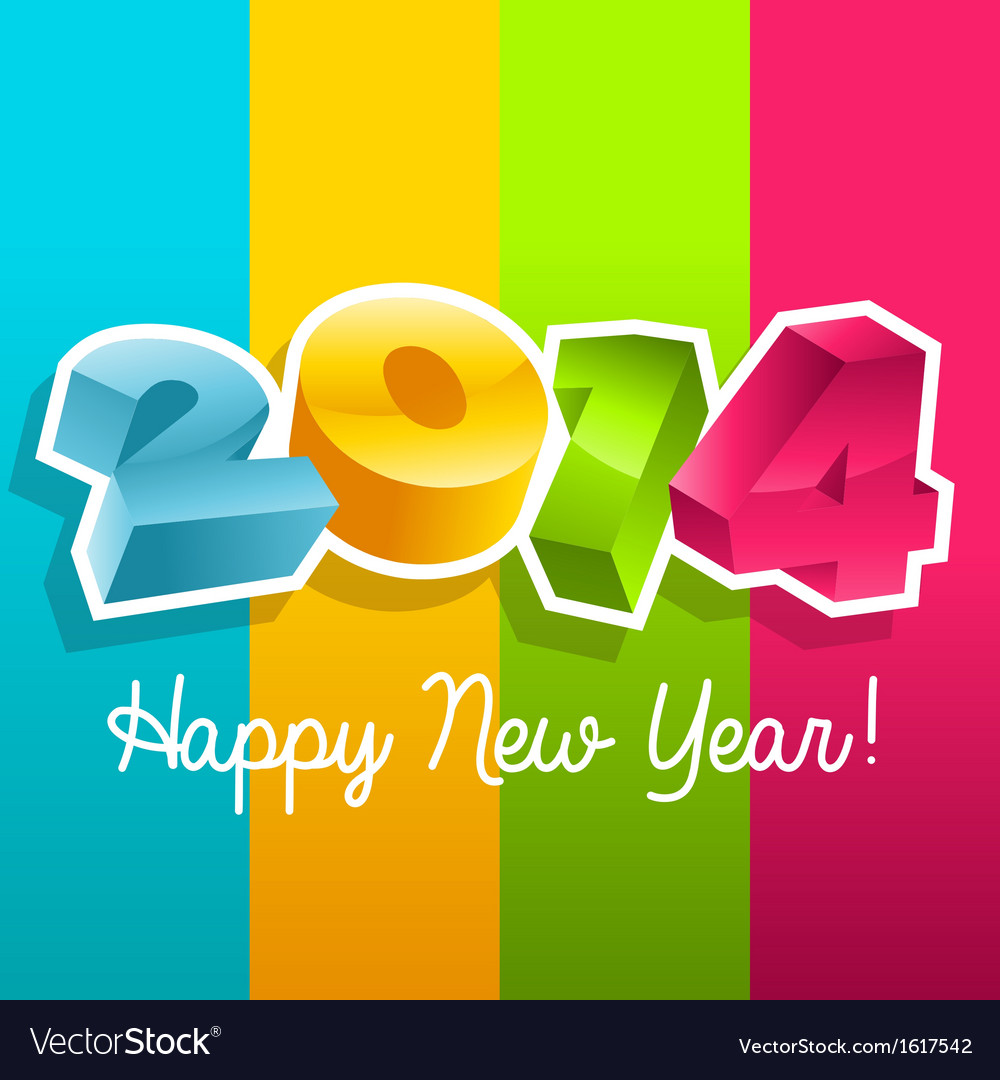 Colorful new year 2014 vector | Price: 1 Credit (USD $1)