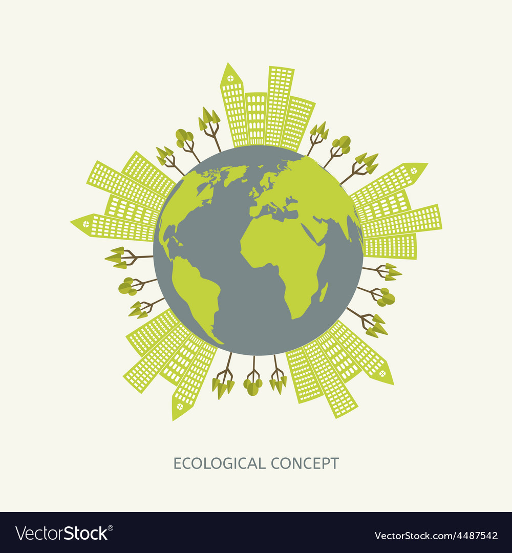 Ecologic environment concept in flat style vector | Price: 1 Credit (USD $1)