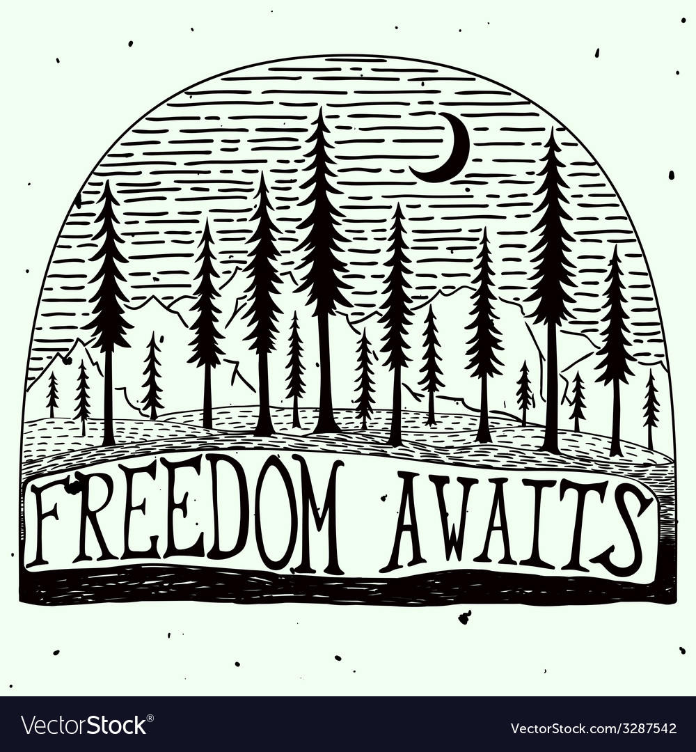 Freedom awaits grungy handdrawn quote poster vector | Price: 1 Credit (USD $1)