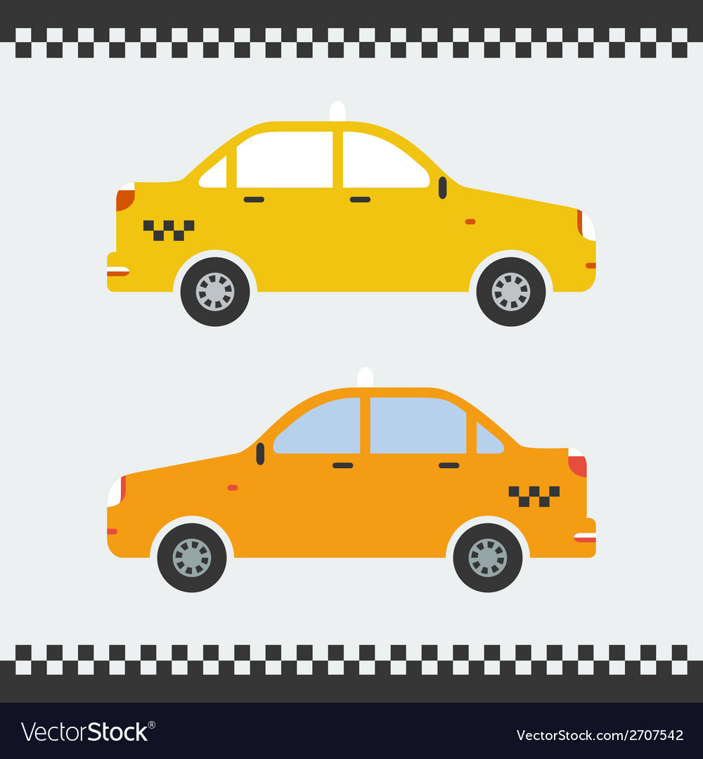 Graphic yellow taxi car flat design vector | Price: 1 Credit (USD $1)