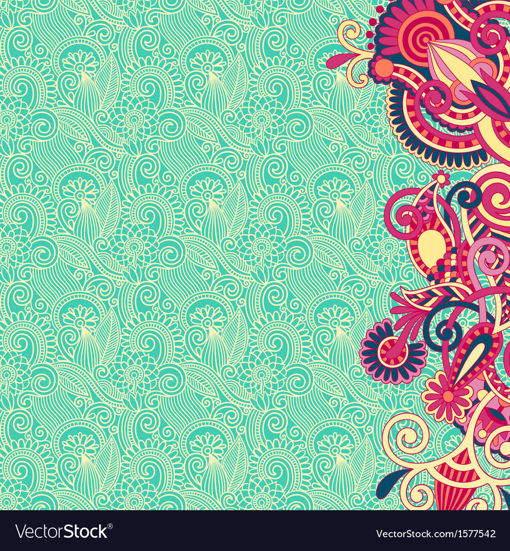 Ornate card flower background vector | Price: 1 Credit (USD $1)
