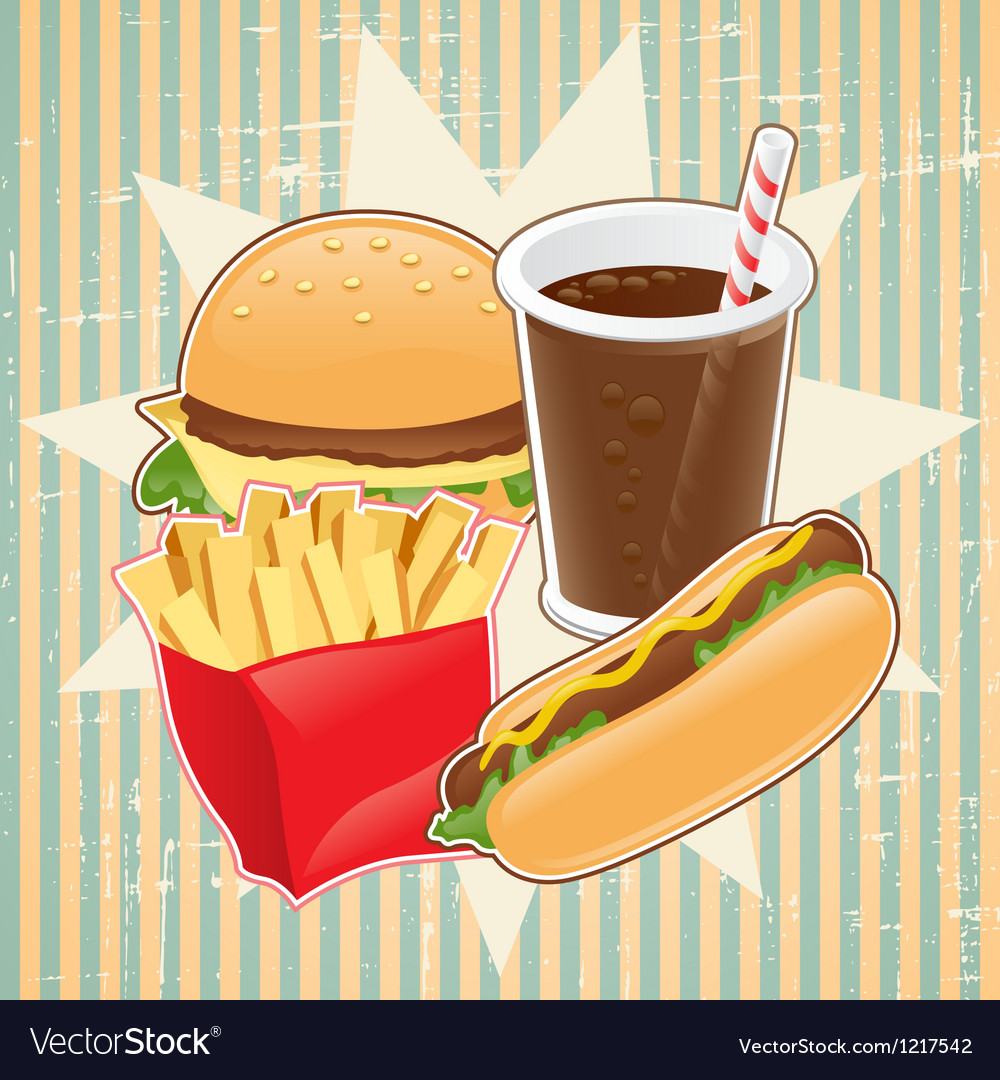 Retro background with fast food vector | Price: 1 Credit (USD $1)