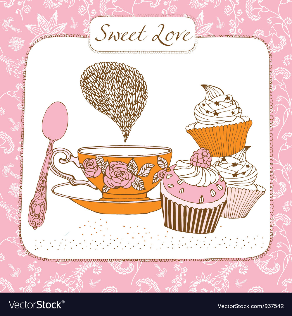 Retro sweet tea time card vector | Price: 1 Credit (USD $1)