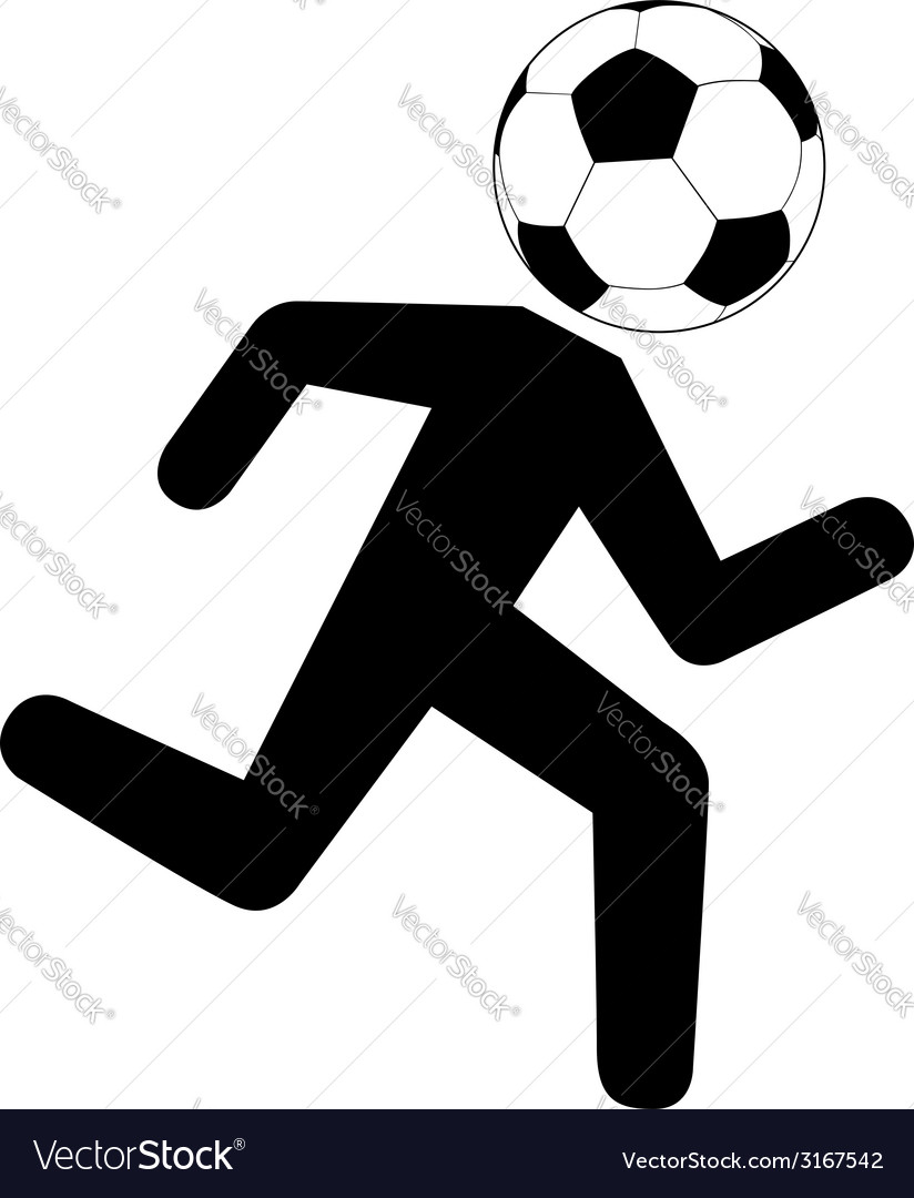 Running footballer with soccer ball vector | Price: 1 Credit (USD $1)