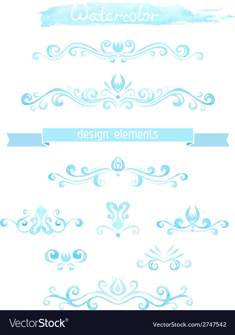 Set of vintage watercolor design elements vector   Price: 1 Credit (USD $1)