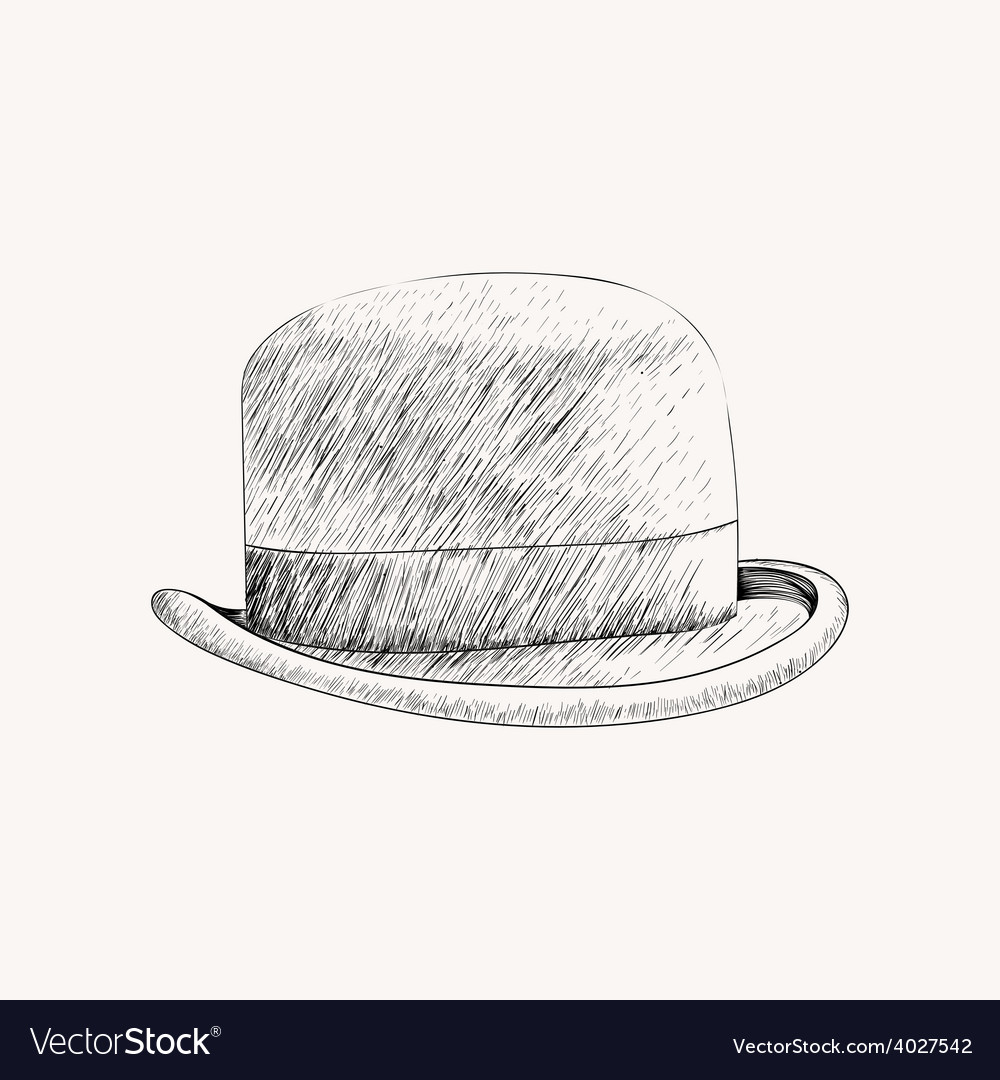 Sketch black bowler hat or derby cut out hand vector | Price: 1 Credit (USD $1)