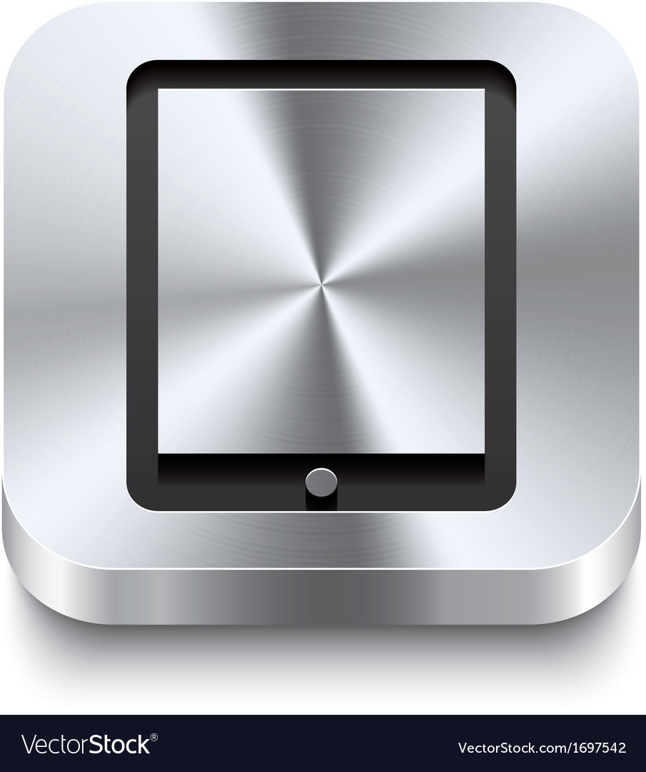 Square metal button perspektive - tablet icon vector | Price: 1 Credit (USD $1)