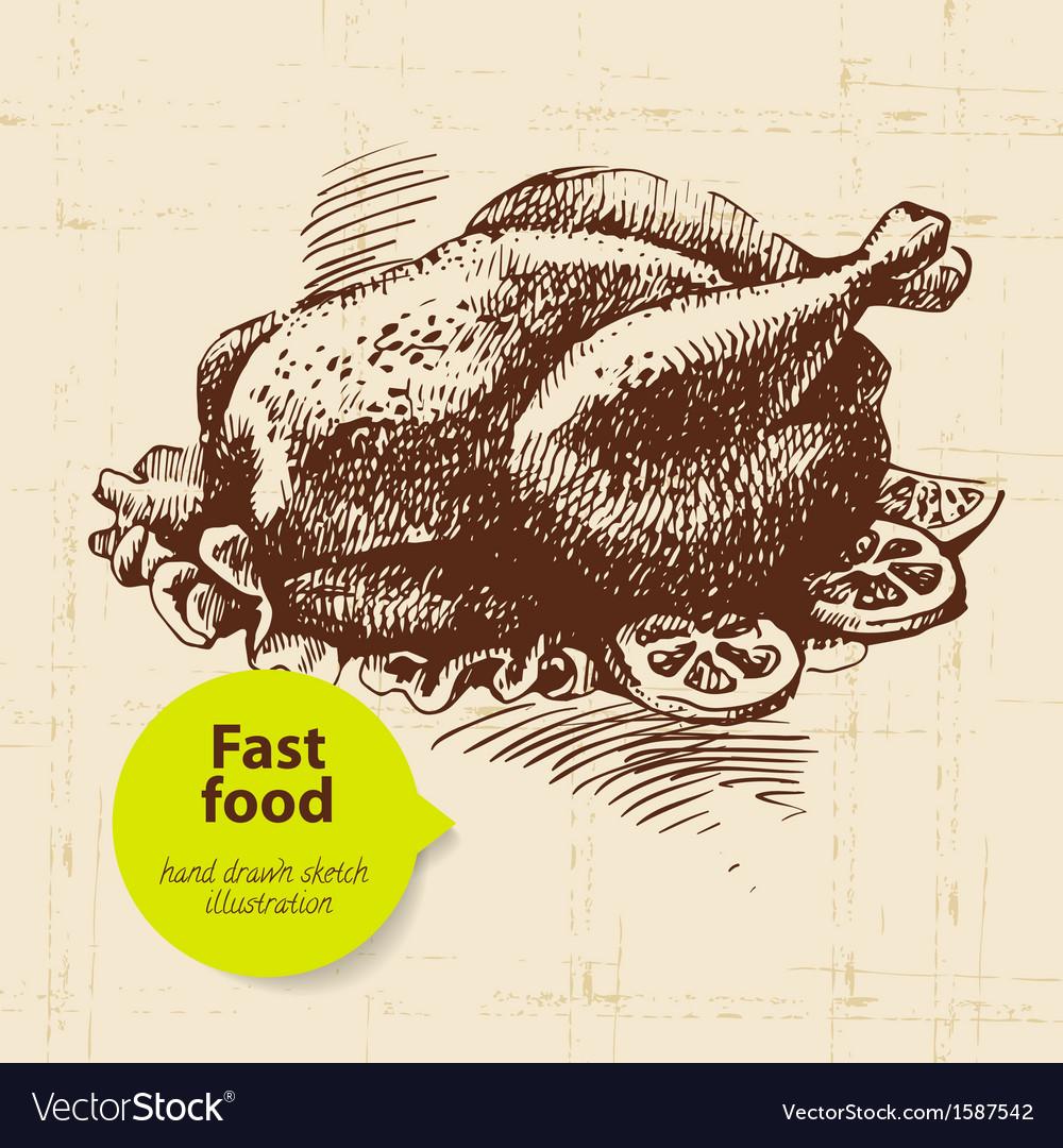 Vintage fast food background hand drawn menu desi vector   Price: 1 Credit (USD $1)