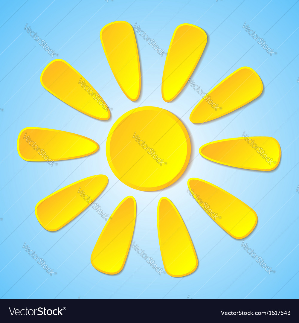 Abstract yellow paper sun on a blue background vector | Price: 1 Credit (USD $1)