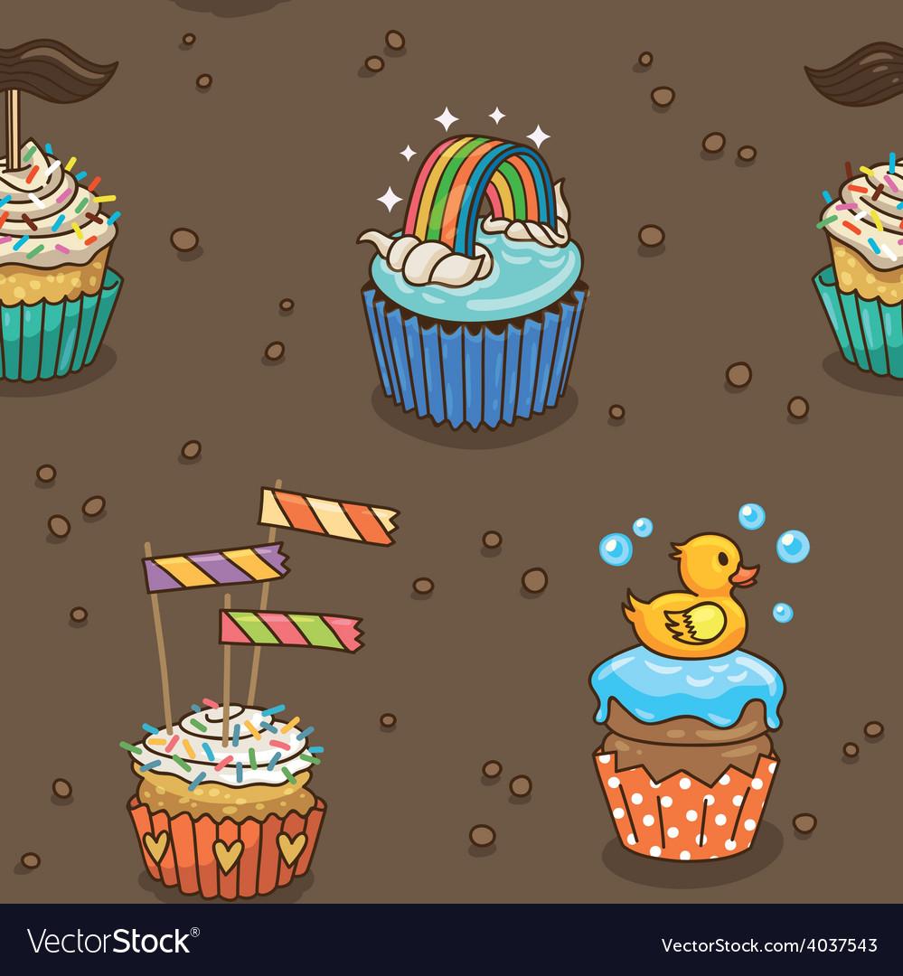 Cute cupcake pattern vector | Price: 1 Credit (USD $1)
