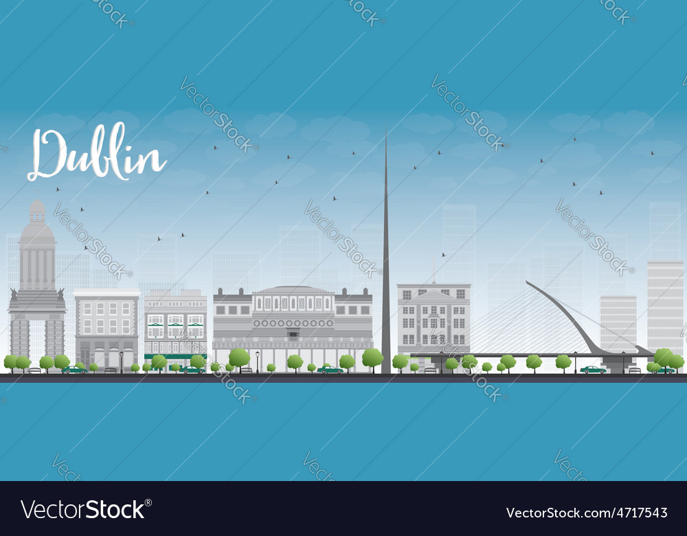 Dublin skyline with grey buildings vector | Price: 1 Credit (USD $1)