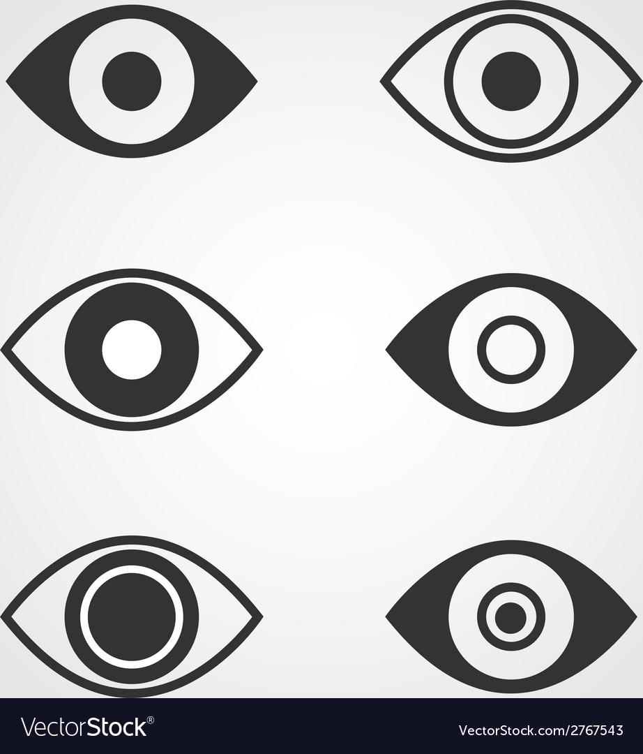 Eye icons set flat design vector | Price: 1 Credit (USD $1)