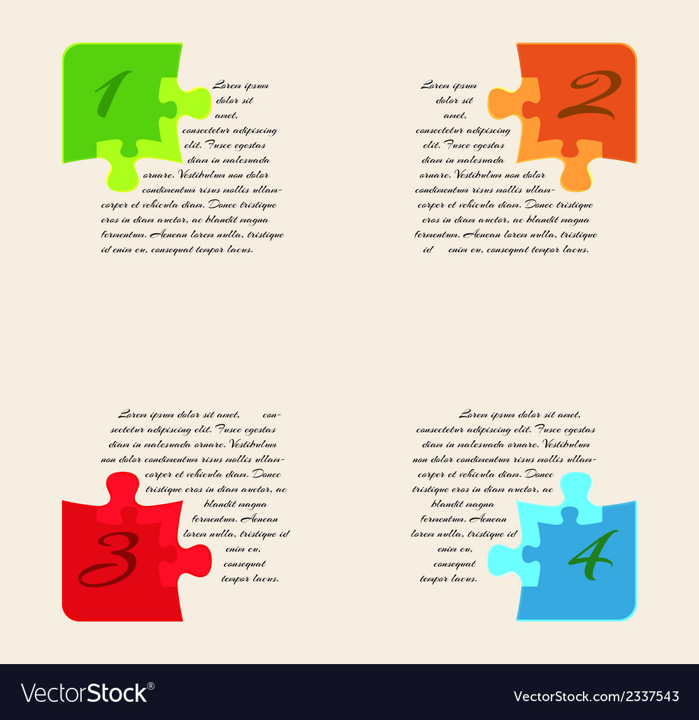 Infographics - four options with puzzle pieces vector | Price: 1 Credit (USD $1)