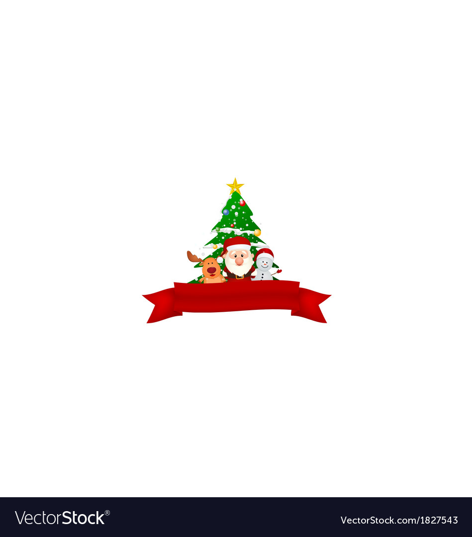 Merry christmas snowman family with red ribbon vector | Price: 1 Credit (USD $1)
