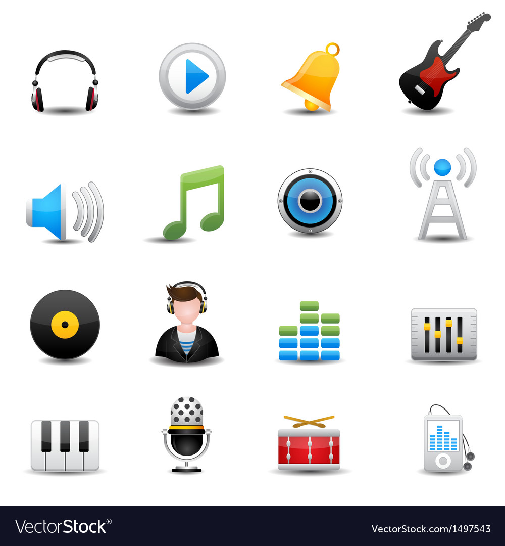 Music icons set vector | Price: 3 Credit (USD $3)