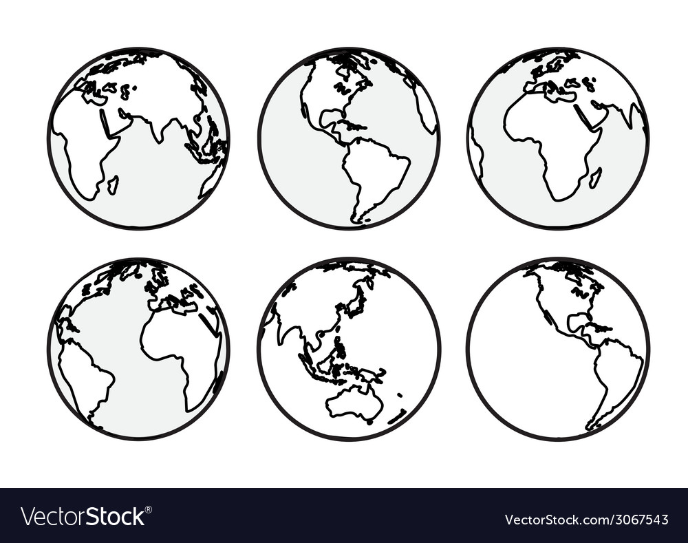 Six earth globes vector | Price: 1 Credit (USD $1)
