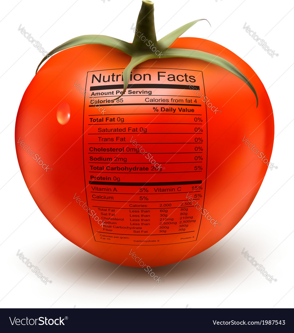 Tomato with a nutrition facts label concept of vector | Price: 1 Credit (USD $1)
