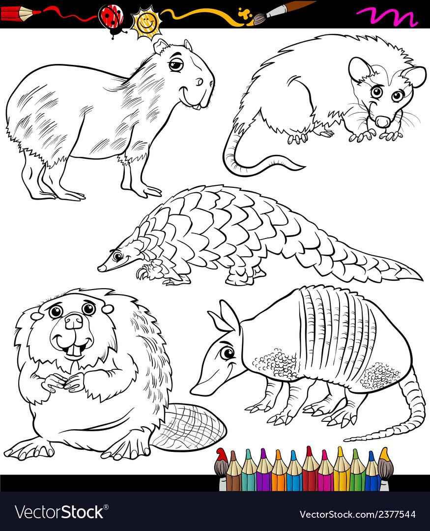 Animals set cartoon coloring book vector | Price: 1 Credit (USD $1)