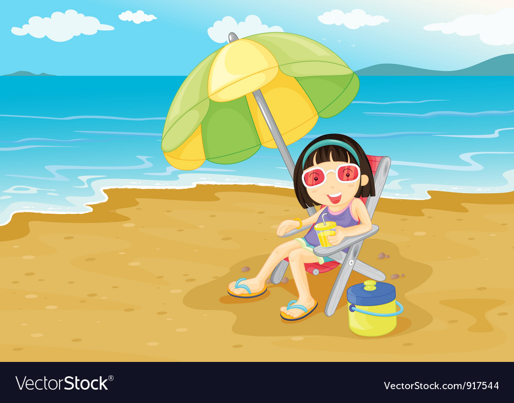 Beach girl vector | Price: 3 Credit (USD $3)