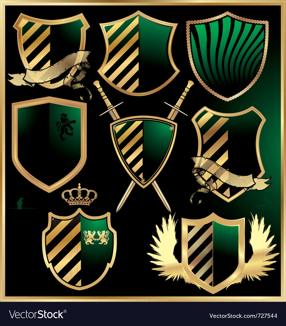 Gold and green shields set vector | Price: 1 Credit (USD $1)