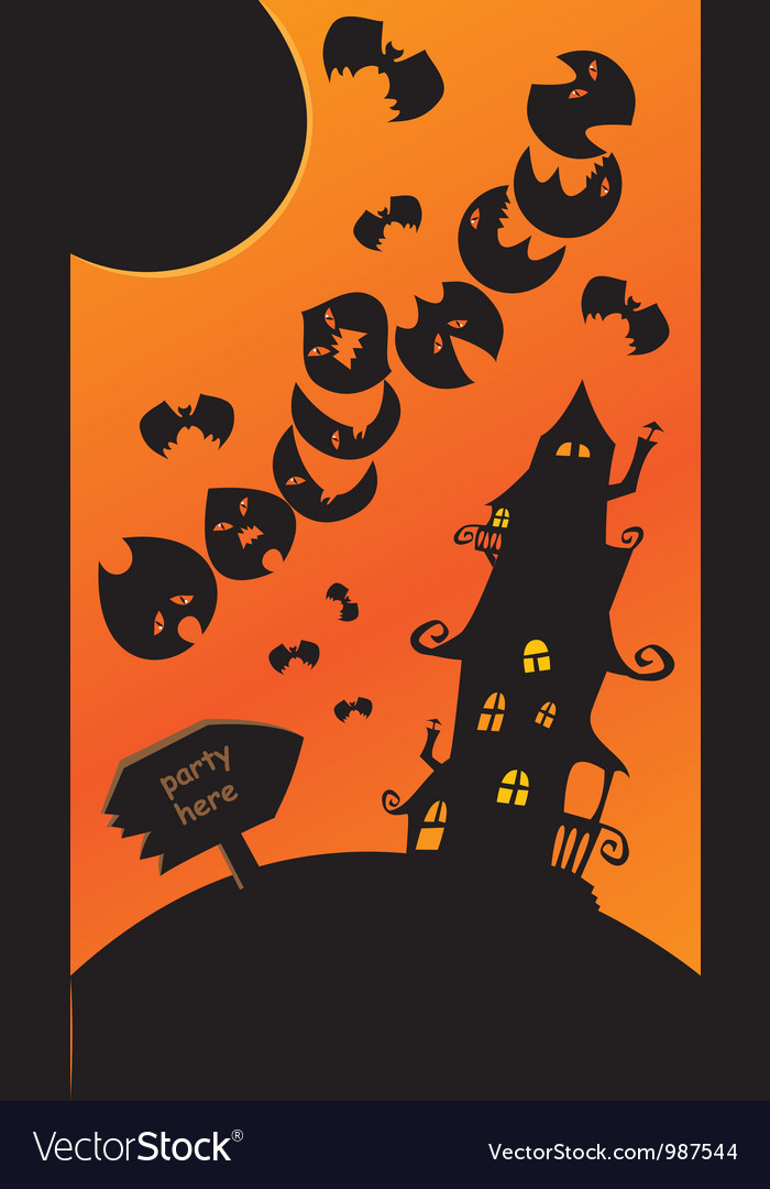 Halloween poster with mystery house bats and moon vector | Price: 1 Credit (USD $1)