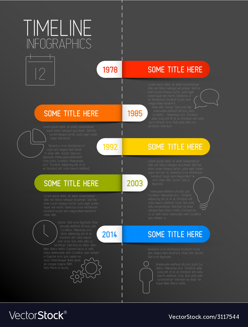 Infographic dark timeline report template with vector | Price: 1 Credit (USD $1)