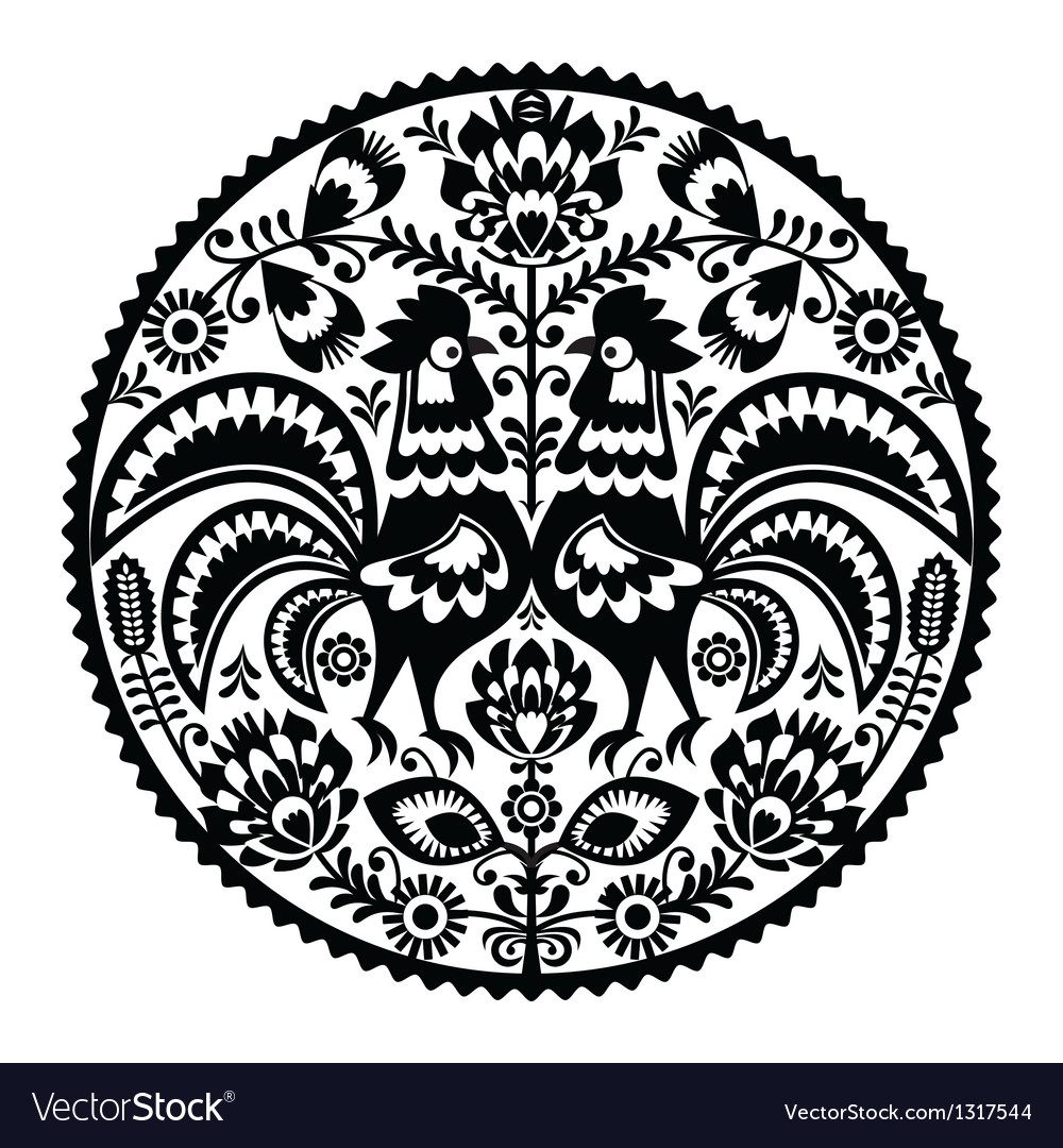 Polish floral embroidery with roosters vector | Price: 1 Credit (USD $1)