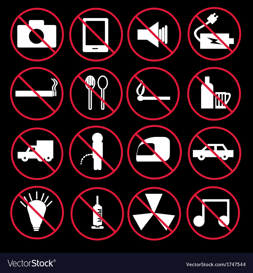 Prohibition signs set vector   Price: 1 Credit (USD $1)