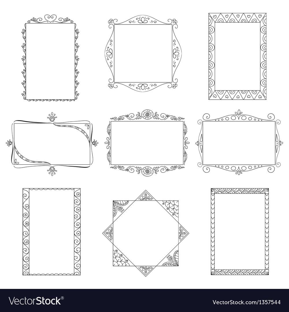 Set of doodle frames vector | Price: 1 Credit (USD $1)