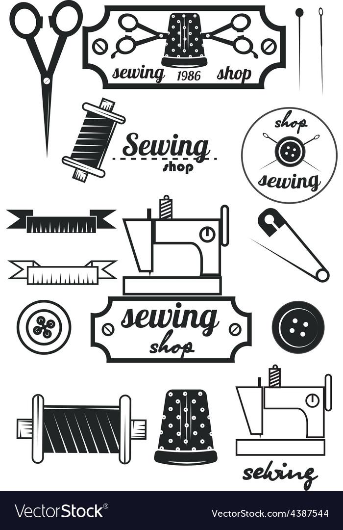 Set of vintage tailor labelssewing workshop vector | Price: 1 Credit (USD $1)