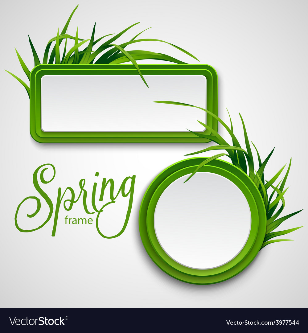 Spring frame with grass vector | Price: 3 Credit (USD $3)