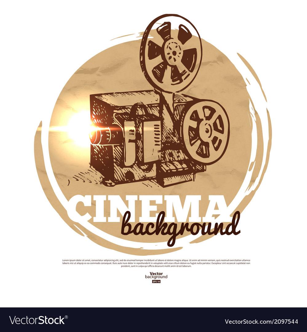 Vintage movie cinema banner with hand drawn sketch vector | Price: 1 Credit (USD $1)