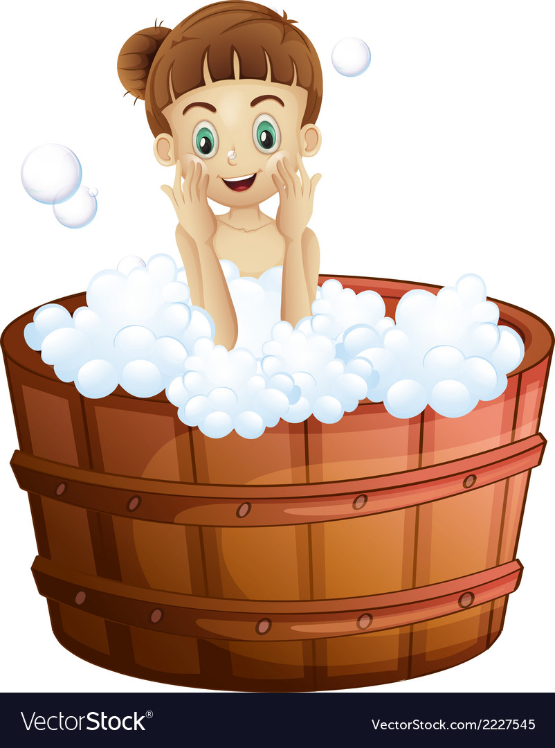 A pretty young lady taking a bath vector | Price: 1 Credit (USD $1)