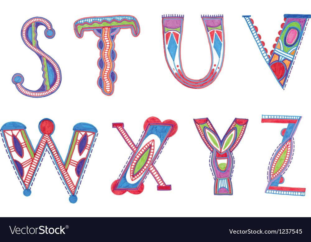Abc font sketchy alphabet design vector | Price: 1 Credit (USD $1)