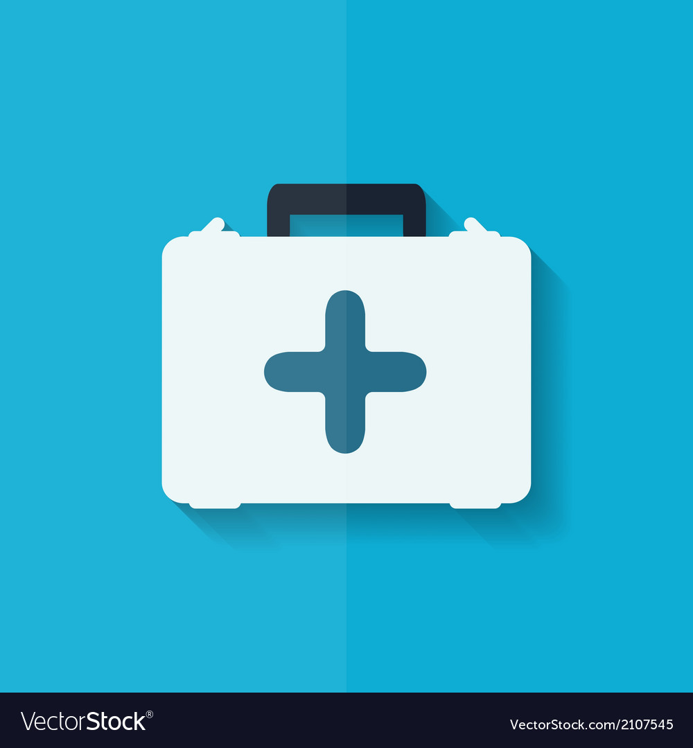 First aid kit icon flat design vector | Price: 1 Credit (USD $1)