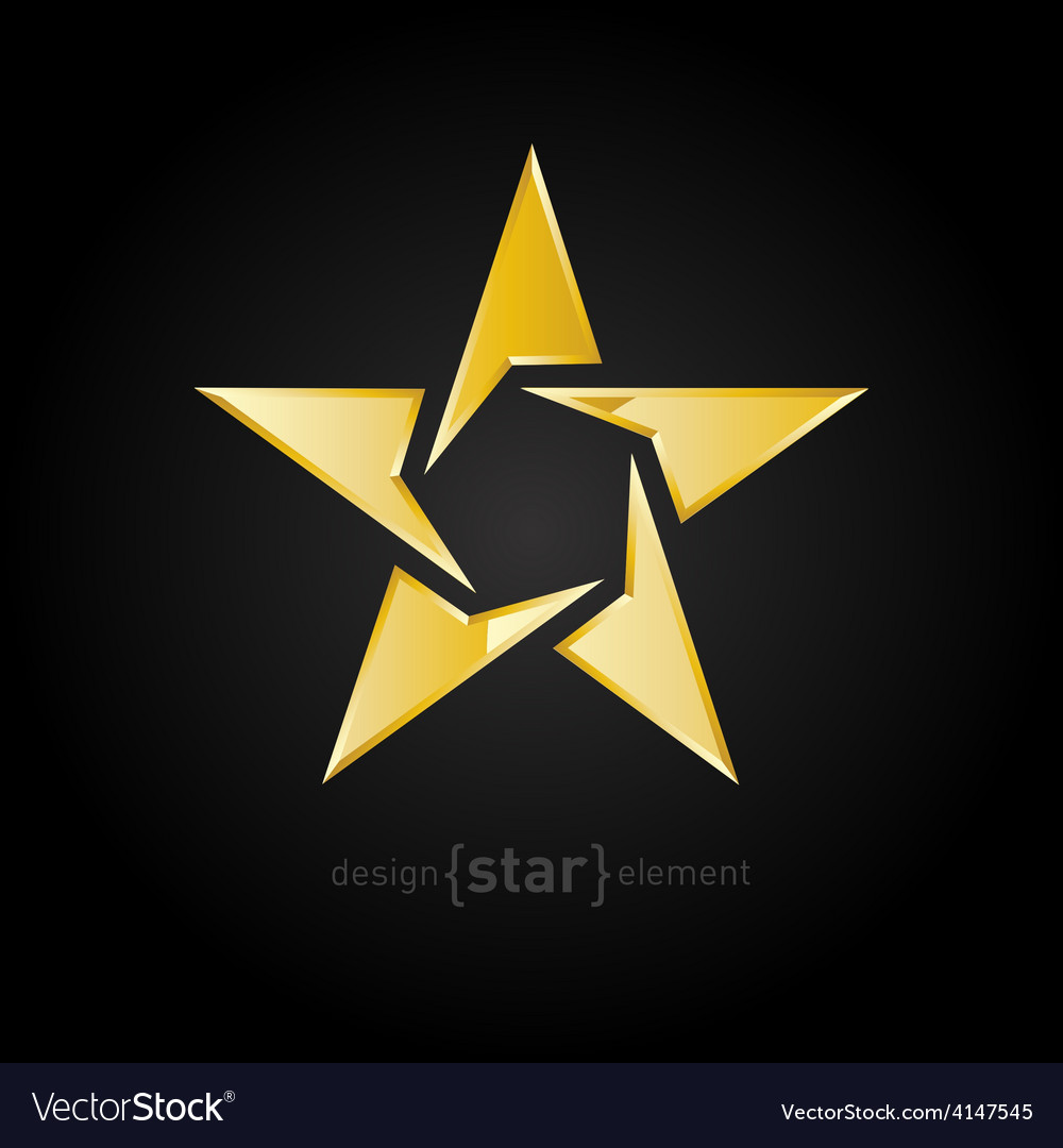 Gold abstract star on black background vector   Price: 1 Credit (USD $1)