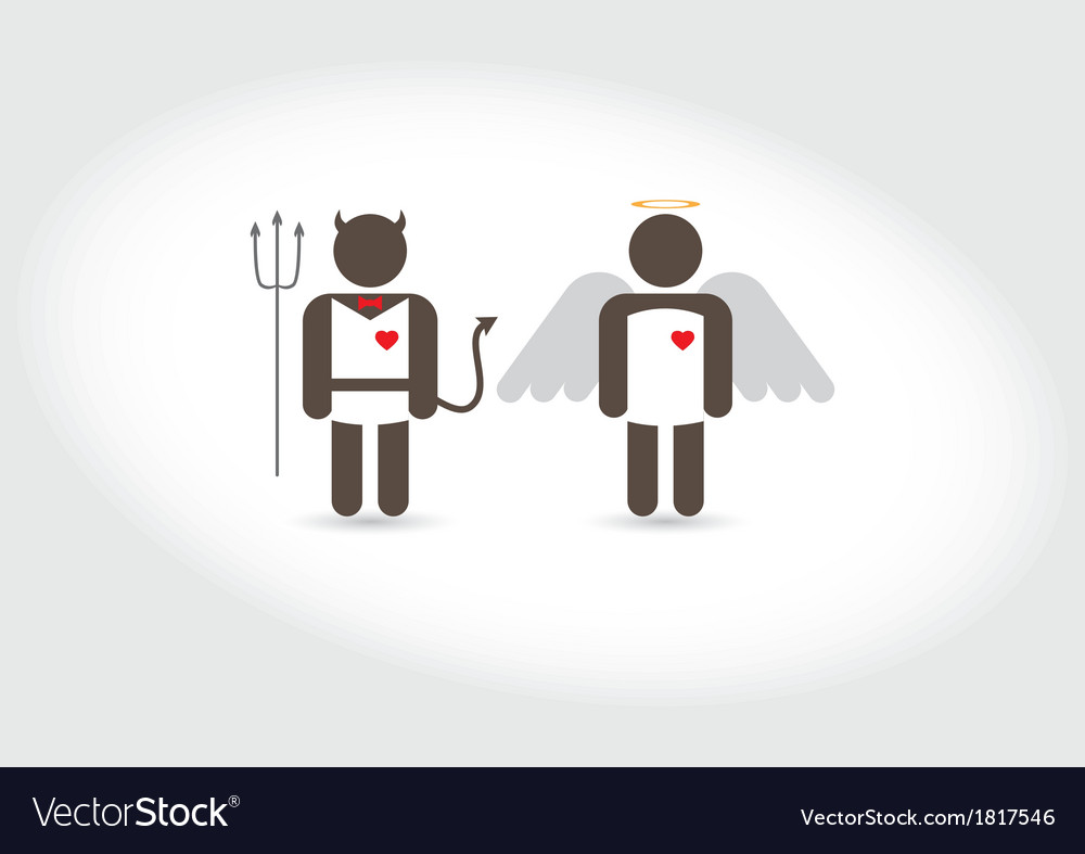 Angel and devil good and evil vector | Price: 1 Credit (USD $1)