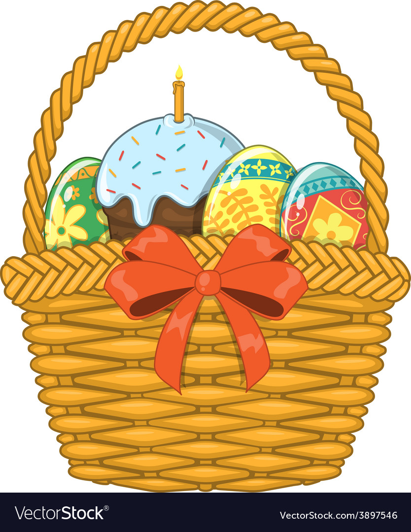 Basket with easter eggs and cake vector   Price: 1 Credit (USD $1)