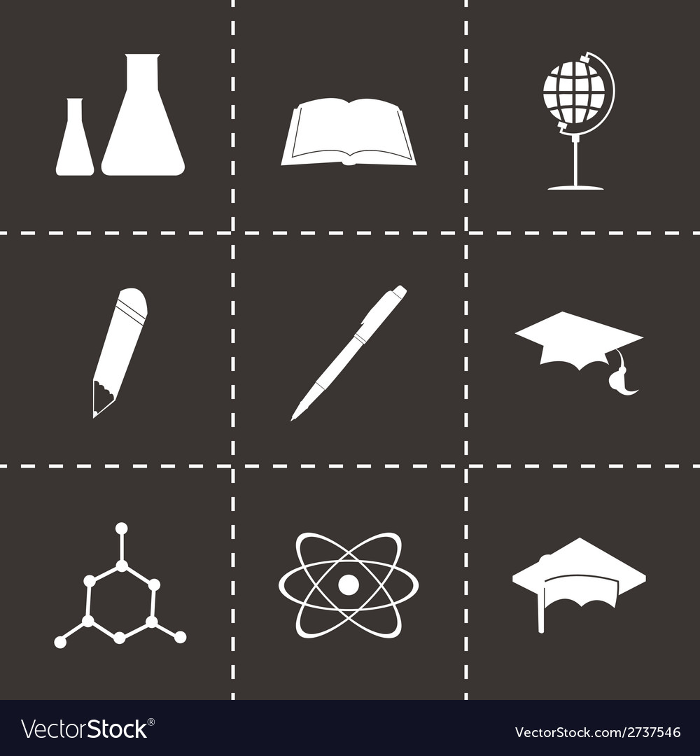 Black education icons set vector | Price: 1 Credit (USD $1)