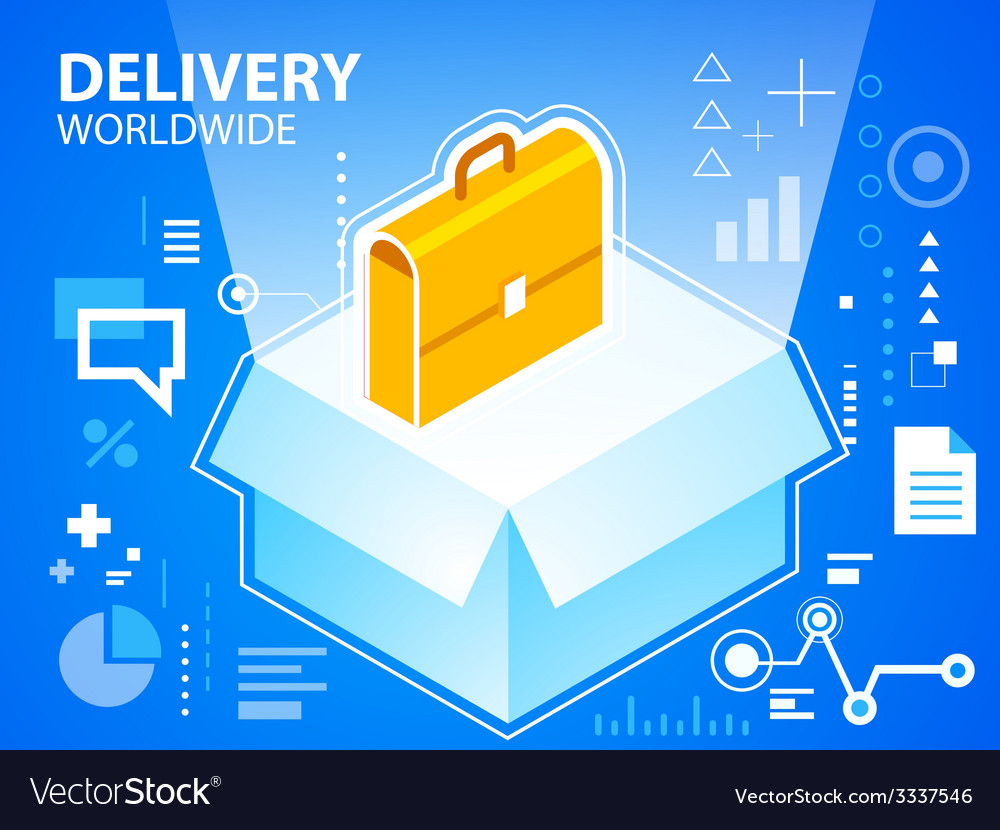 Bright delivery box and work suitcase on blu vector | Price: 3 Credit (USD $3)