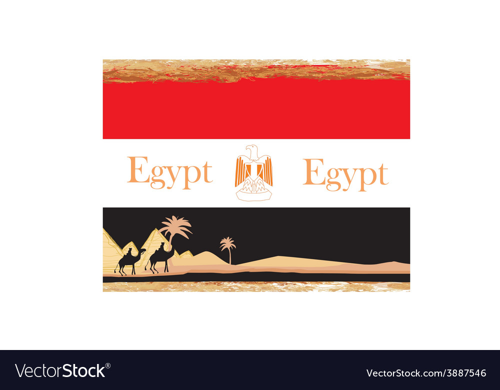 Camel caravan in wild africa - flag of vector | Price: 1 Credit (USD $1)