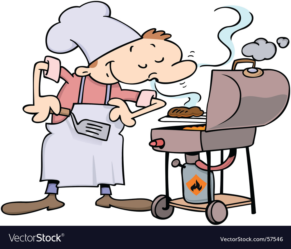 Chef grilling burgers vector | Price: 1 Credit (USD $1)