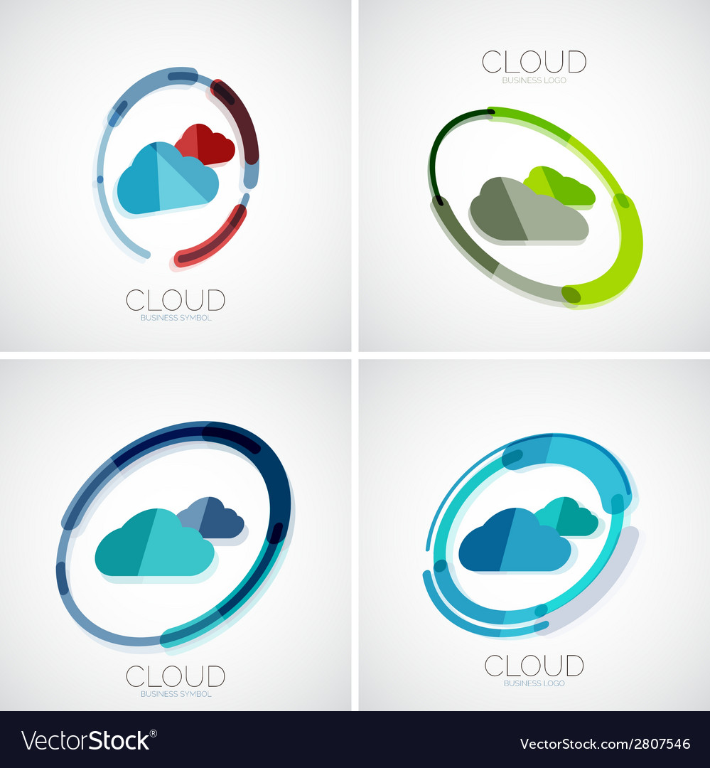 Cloud storage logotype set 3d minimal design vector | Price: 1 Credit (USD $1)