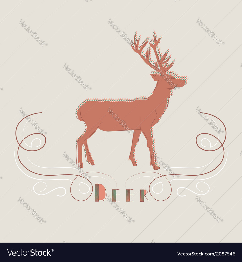 Decorative of deer vector | Price: 1 Credit (USD $1)